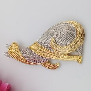 Vintage Cat Brooch Gold-tone & Silver-tone